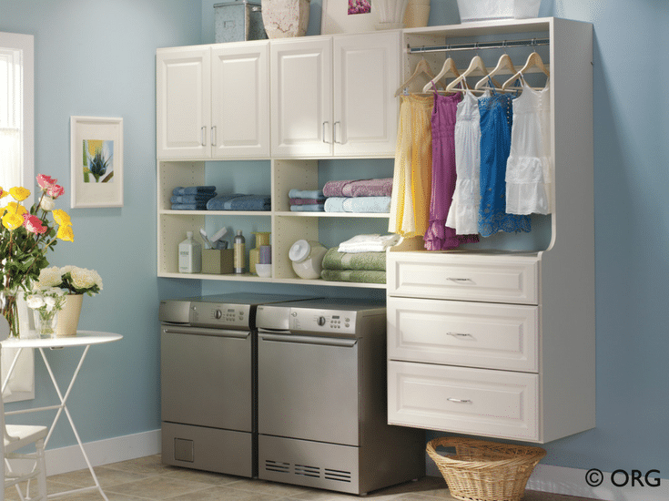 White raiised panel laundry room cabinets above a washer and dryer - Innovate Home Org Columbus Ohio