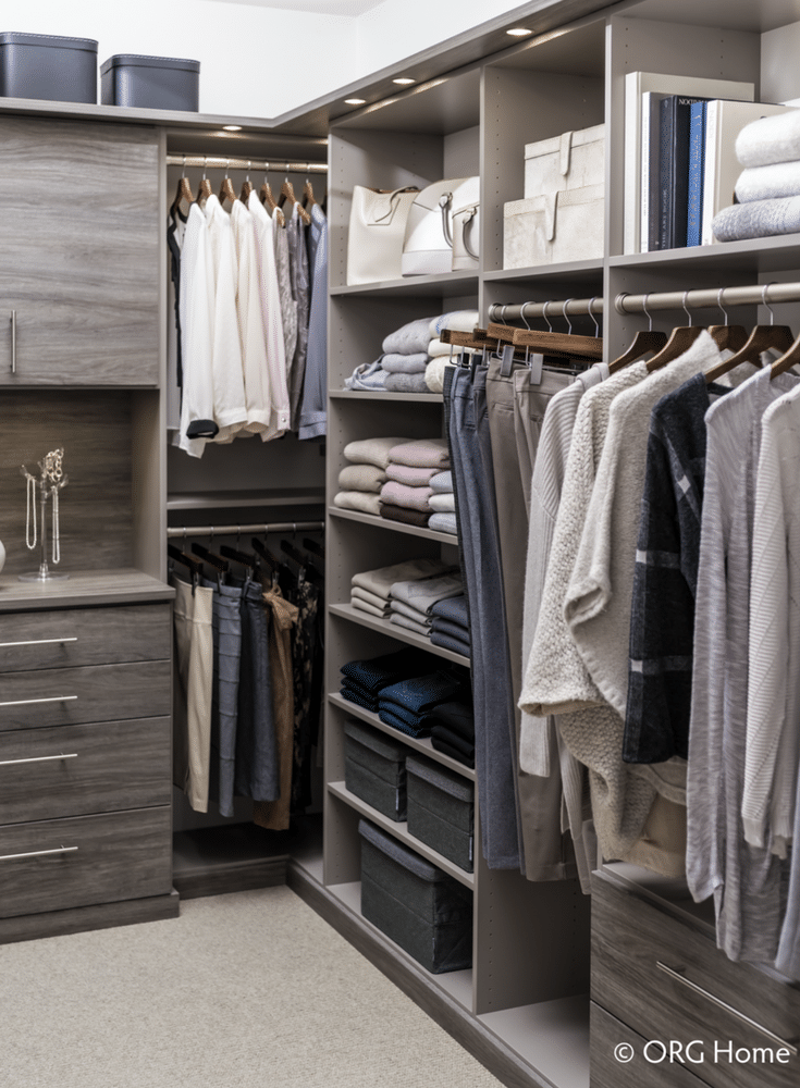 Custom closet with hanging drawers and shelf space | Innovate Home Org Columbus Ohio