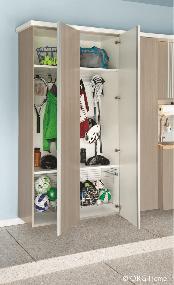 Custom garage cabinetry comes in multiple sizes and adjustable and sliding shelving options | Innovate Home Org Columbus Ohio
