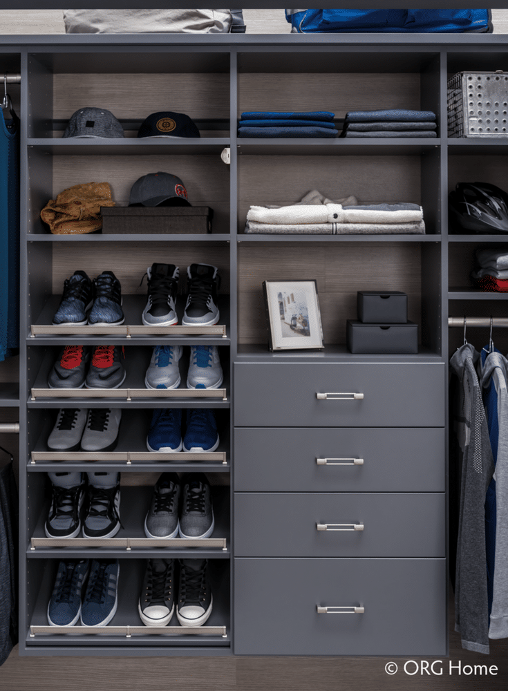 Mens wall hung bedroom closet with a minimalist design | Innovate Home Org Columbus Ohio