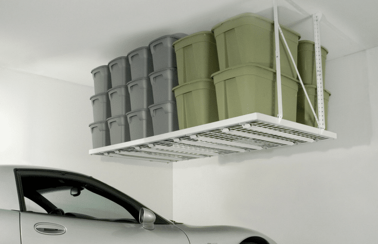 Overhead garage racking mounted to the ceiling for a space efficient storage option | Innovate Home Org Columbus Ohio