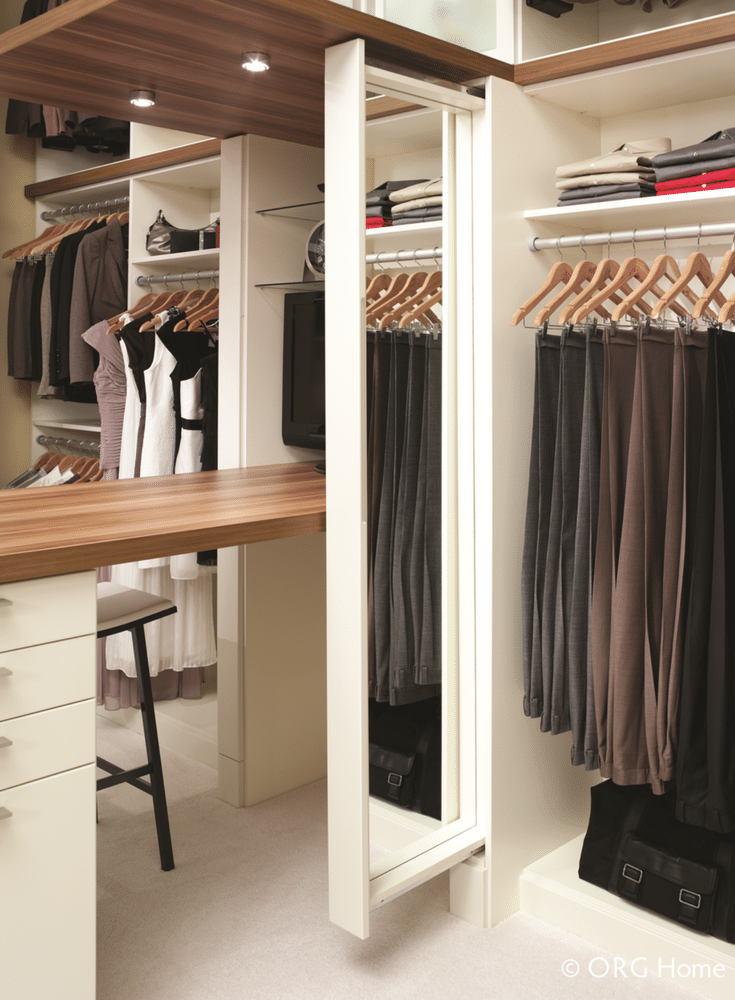 Slide out mirrors make custom closets easier to use | Innovate Home Org Columbus Ohio