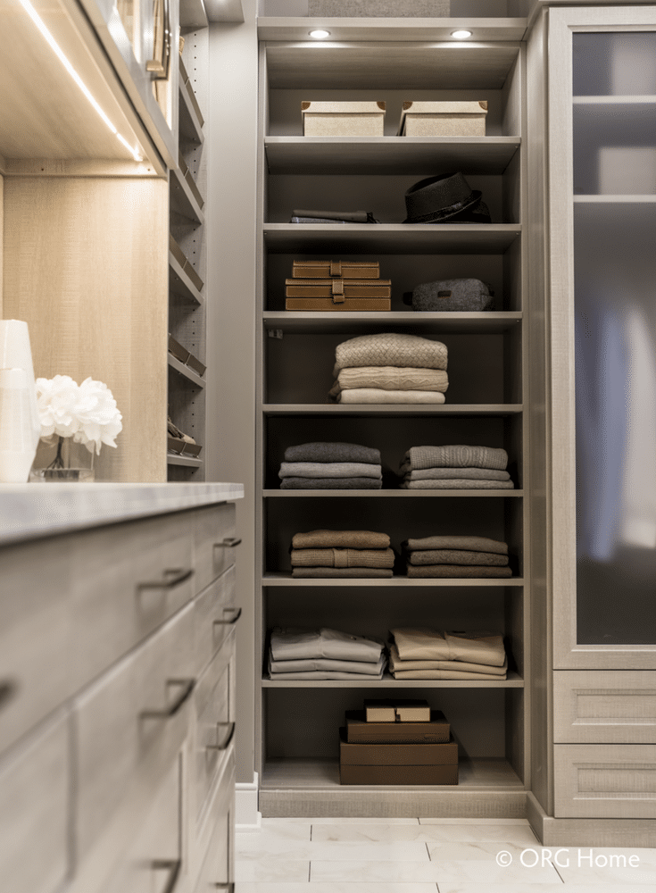 14 inch deep closet shelving so sweaters and shoes don't hang off the edge | Innovate Home Org Columbus Ohio