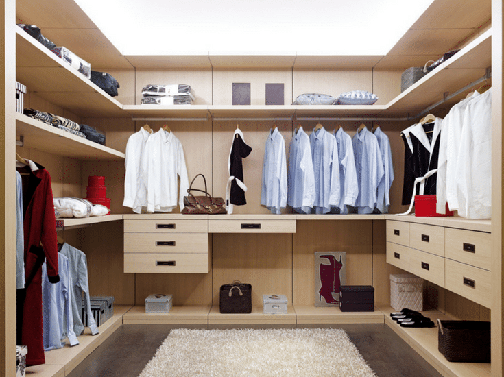Contemporary floating closet shelving system for a luxury closet design | Innovate Home Org Columbus Ohio