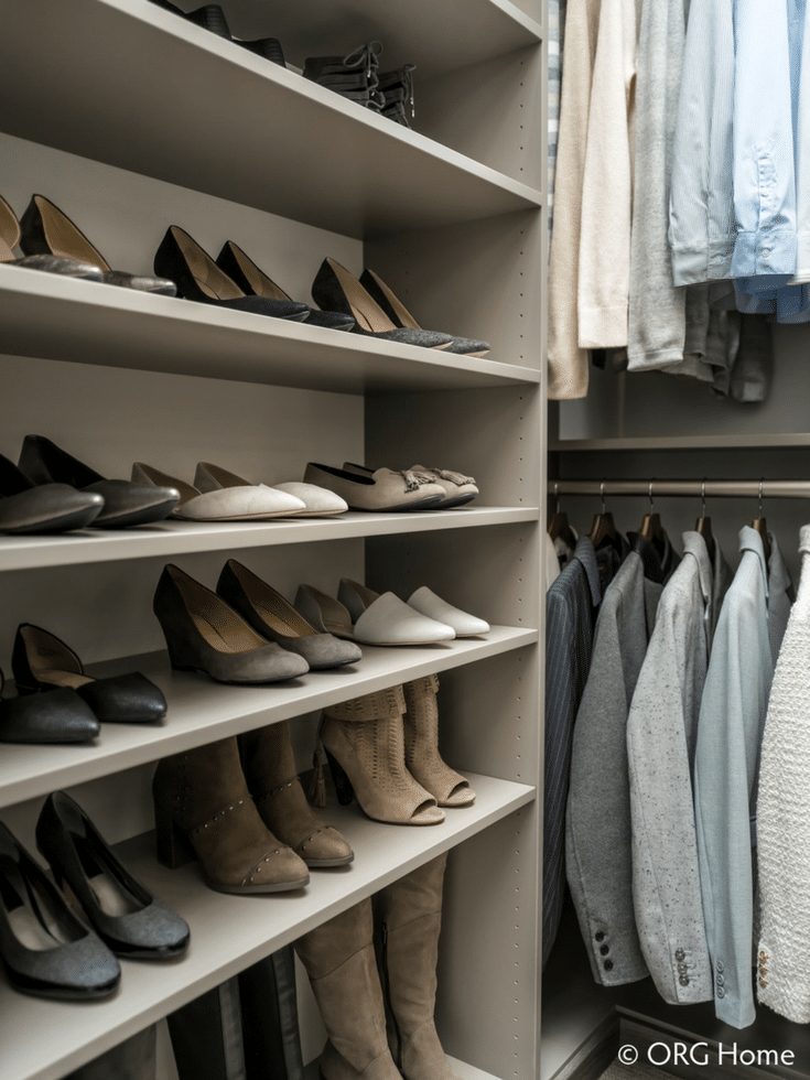 Flat closet shoe shelves use storage space efficiently in a custom closet | Innovate Home Org Columbus Ohio