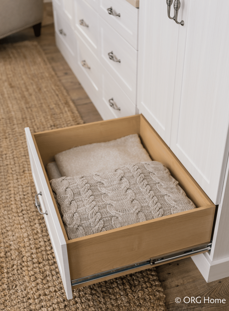 Full extension drawers can store more clothes than hanging space | Innovate Home Org Columbus Ohio