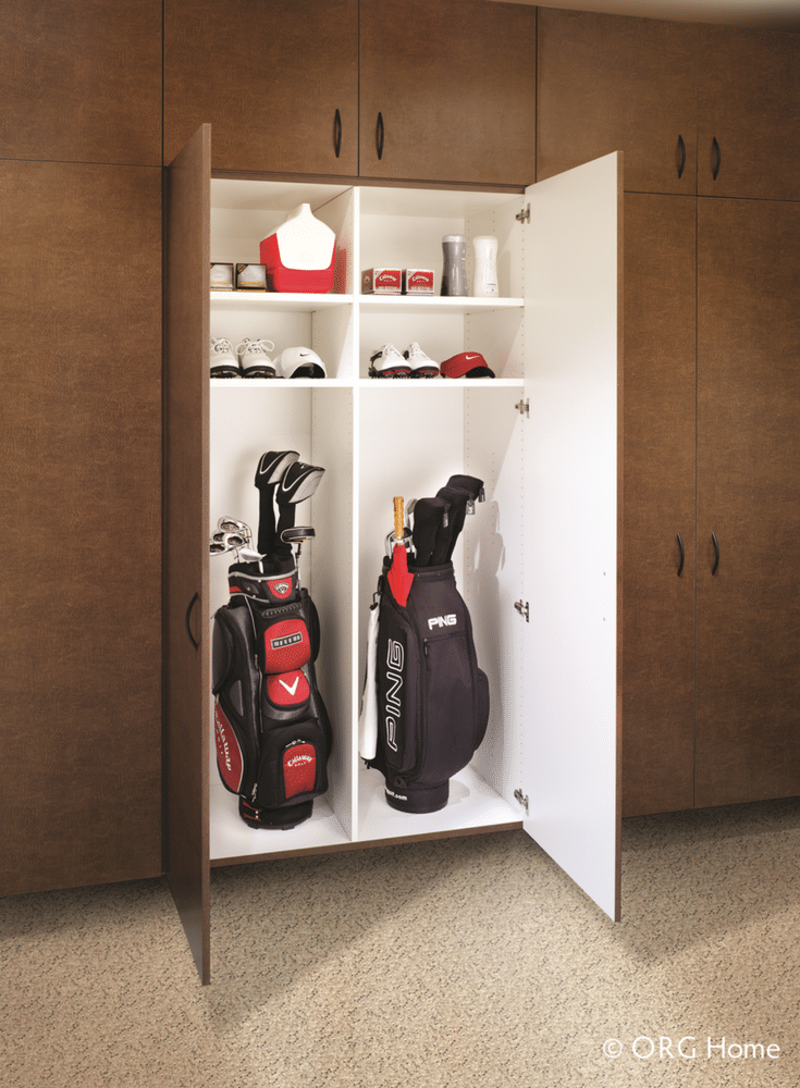 23 inch deep garage cabinets are the perfect depth for storinig golf clubs bags and accessories | Innovate Home Org Columbus Ohio