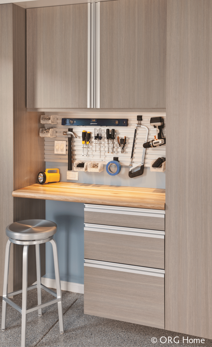 A laminate garage workbench system with cabinetry | Innovate Home Org Columbus Ohio