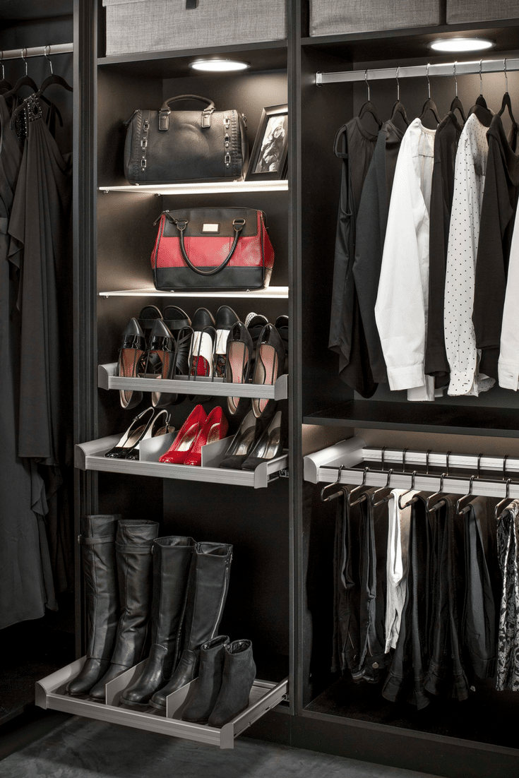 Contemporary Slide Out Boot Storage Tray In A Walk In Custom Bedroom Closet  | Innovate Home