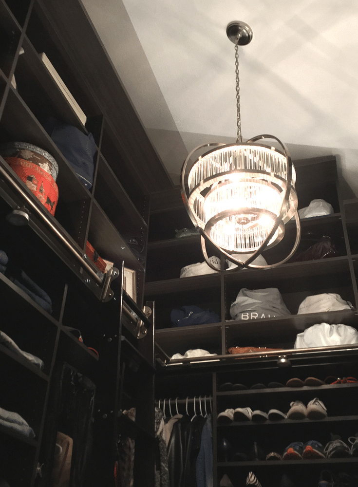 Crystal Orb contemporary chandelier in a luxury custom closet Columbus Ohio