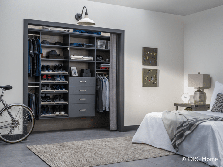 Using curtains instead of bi-fold doors can provide more room to find and retreive your things in a small bedroom closet | Innovate Home Org Columbus Ohio