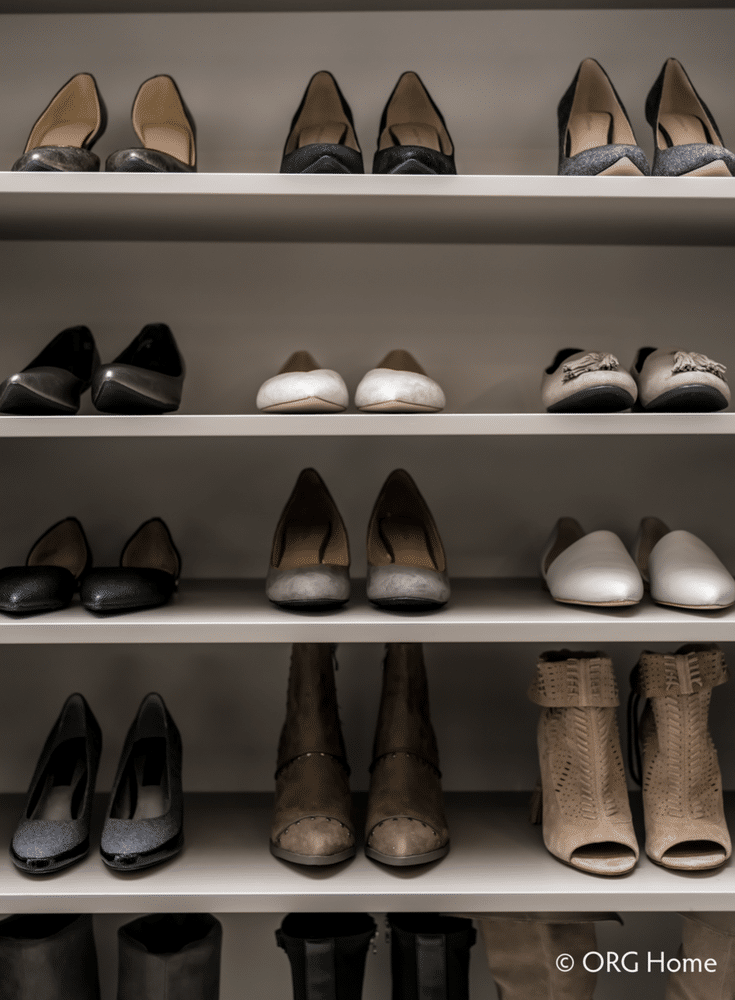 Flat shelving for shoes in an organized bedroom closet | Innovate Home Org Columbus Ohio