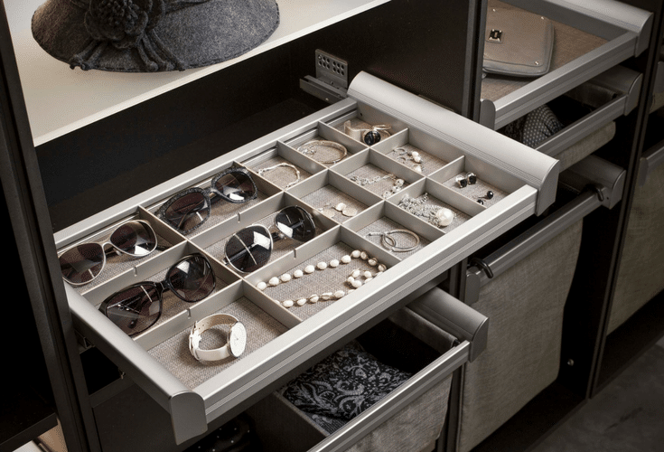 Jewelry tray organizers in a custom bedroom closet system | Innovate Home Org Columbus Ohio