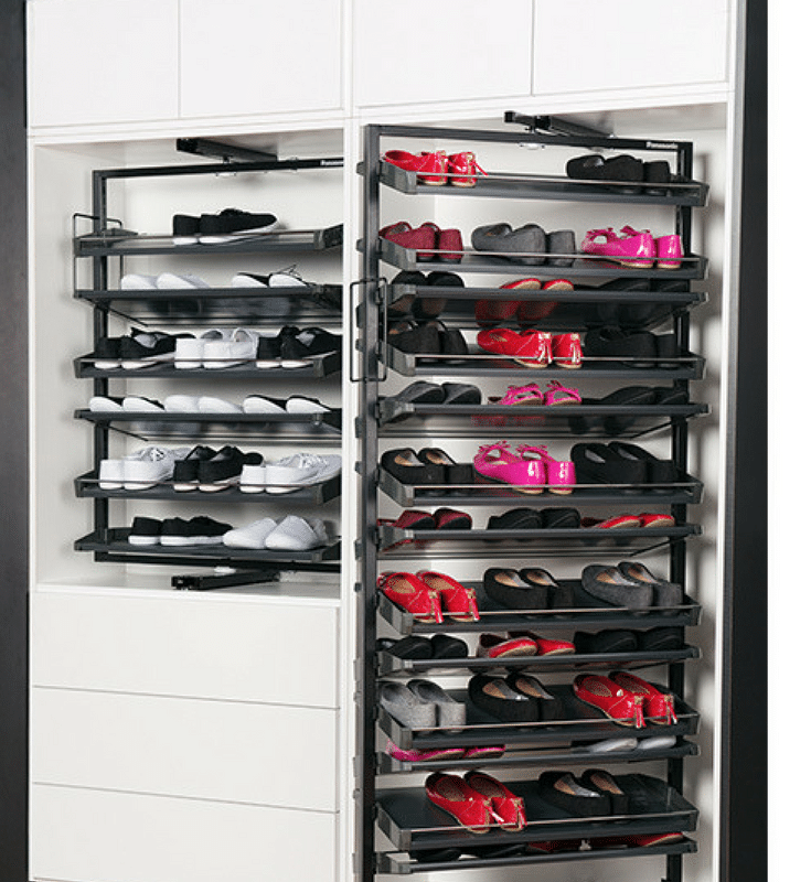 Revolving shoe storage tray gets twice as many shoes in the same area | Innovate Home Org Columbus Ohio