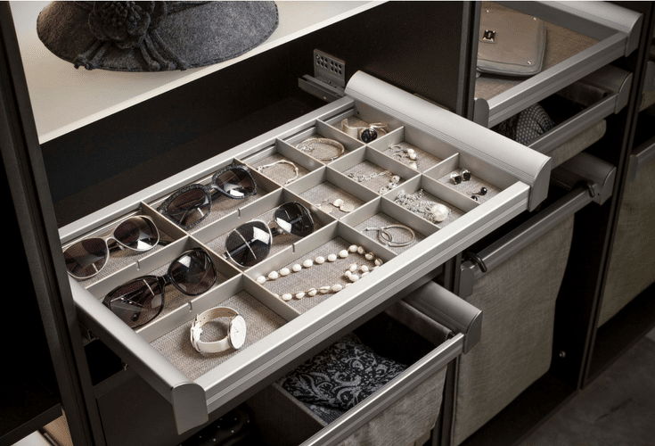 Slide out jewelry drawer with dividers for sections in a bedroom closet in Dublin Ohio | Innovate Home Org