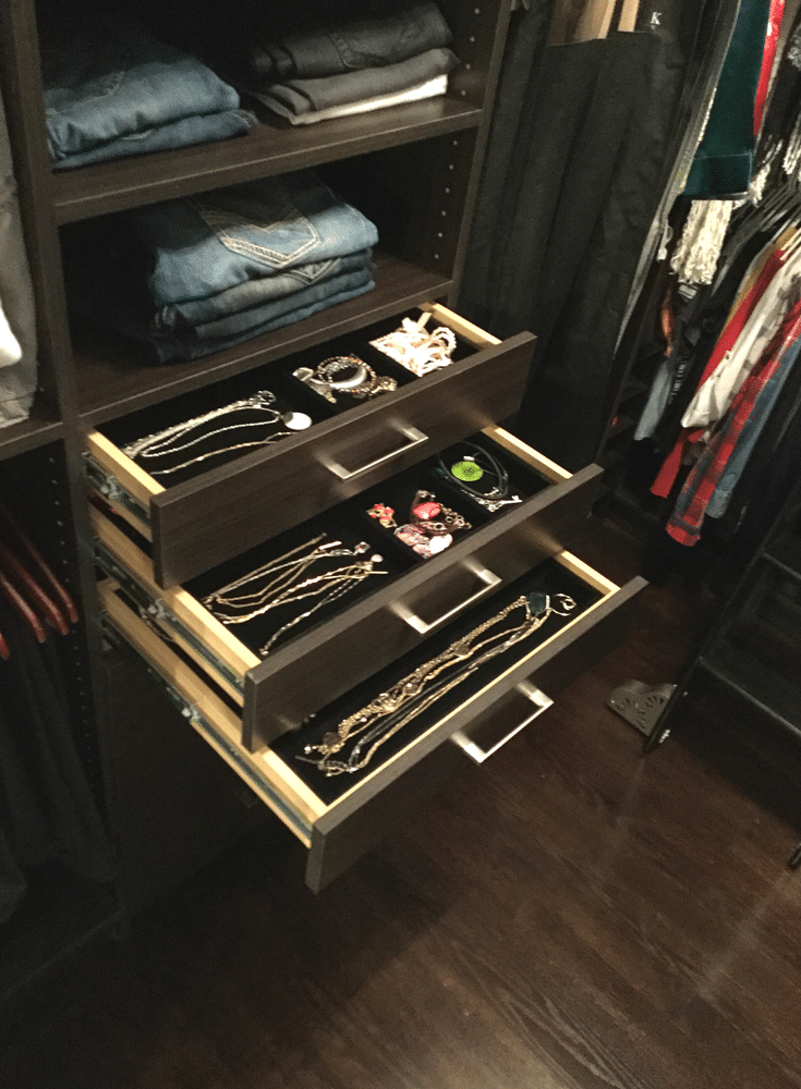 Velvet lined jewelry drawer boxes in a luxury custom closet in Columbus Ohio | Innovate Home Org