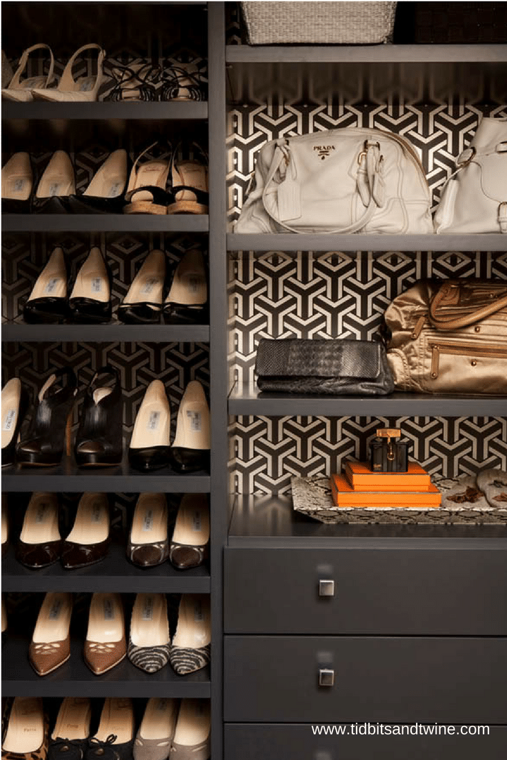 Wallpaper can provide a decorative look on the back of a bedroom closet system | Innovate Home Org Columbus Ohio