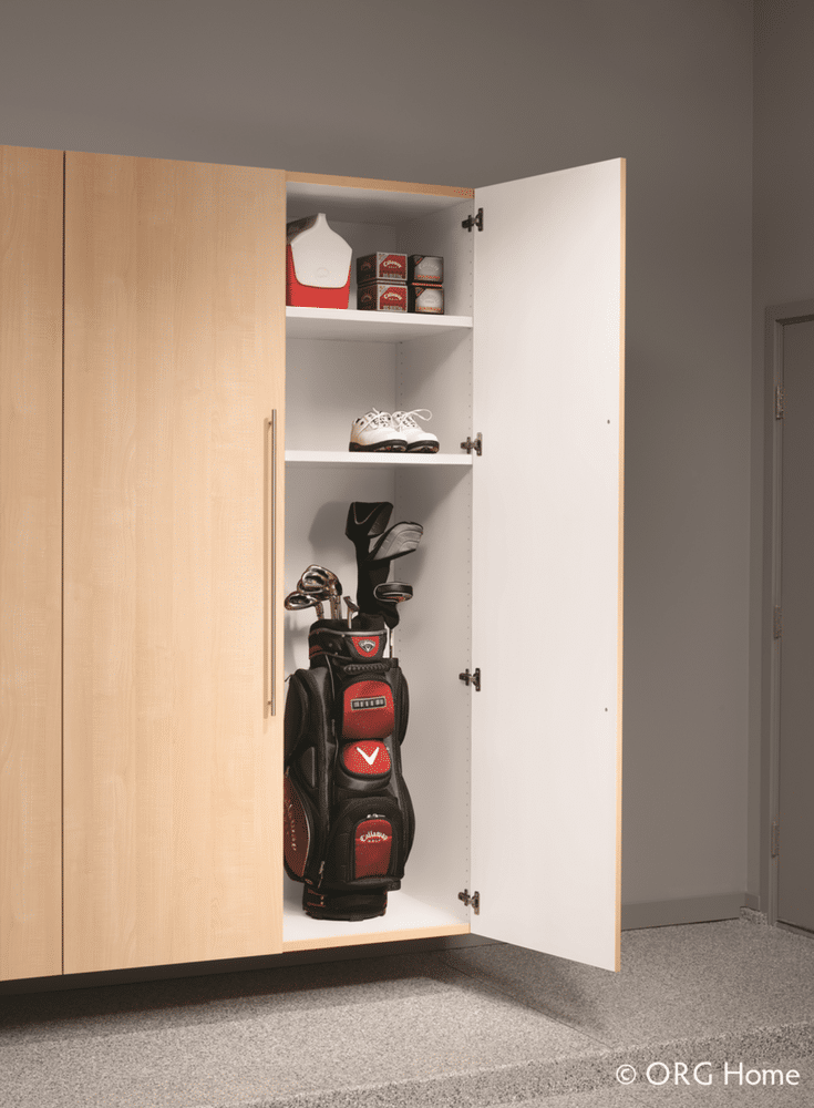 19 inch deep laminated garage cabinet tall storage unit deep enough for golf clubs and equipment | Innovate Home Org Dublin Ohio suburb of Columbus