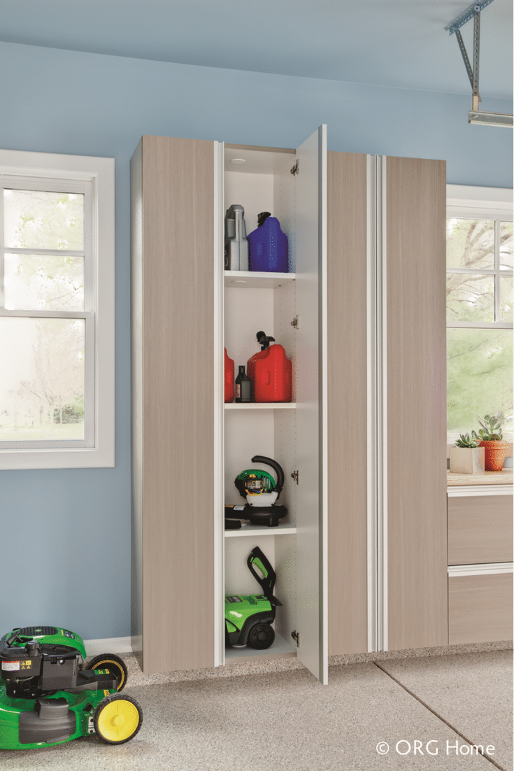 Laminate garage cabinet systems can have locking doors to keep kids away from dangerous chemicals | Innovate Home Org Upper Arlington suburb of Columbus Ohio