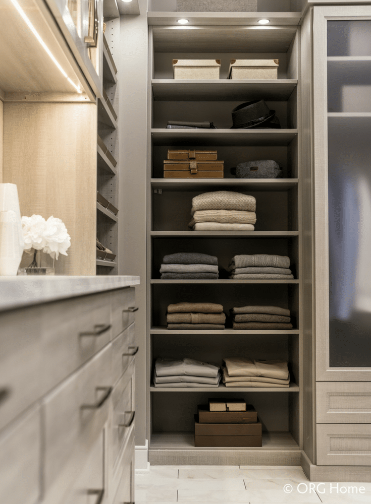 Standard and custom sized closet shelving designs are used to maximize the use of space in a Dublin Ohio custom closet system.  - Innovate Home Org