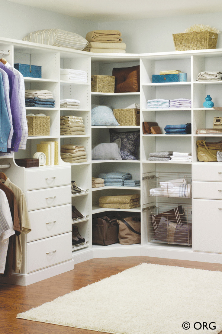 White laminate adjustable corner shelving storage system - Innovate Home Org Upper Arlington suburb Columbus Ohio