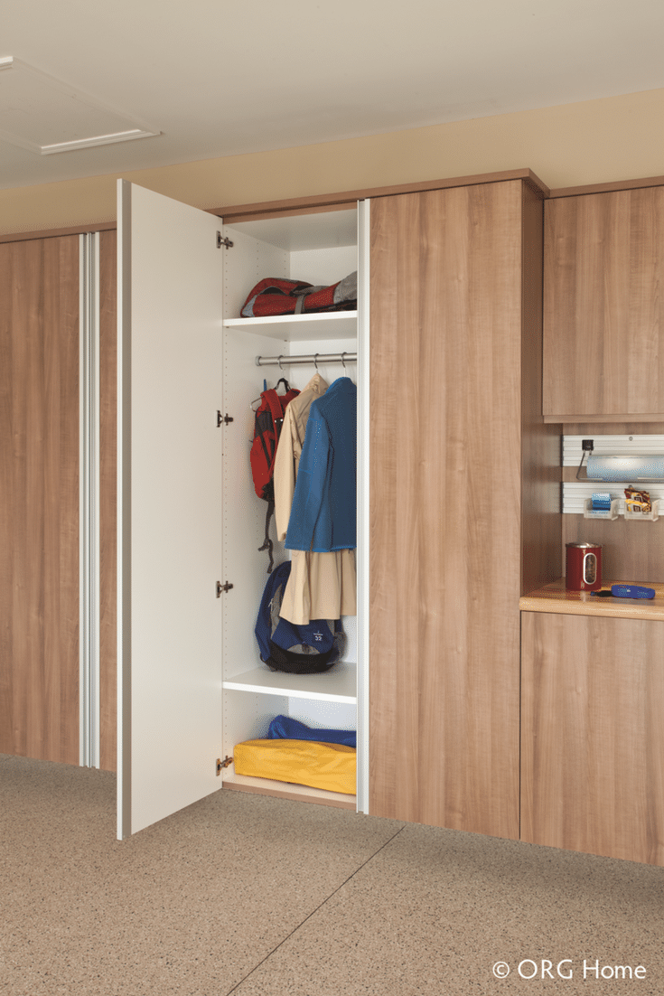 Double door garage storage cabinet with one inch thick shelves in Powell Ohio - Innovate Building Solutions Columbus Ohio
