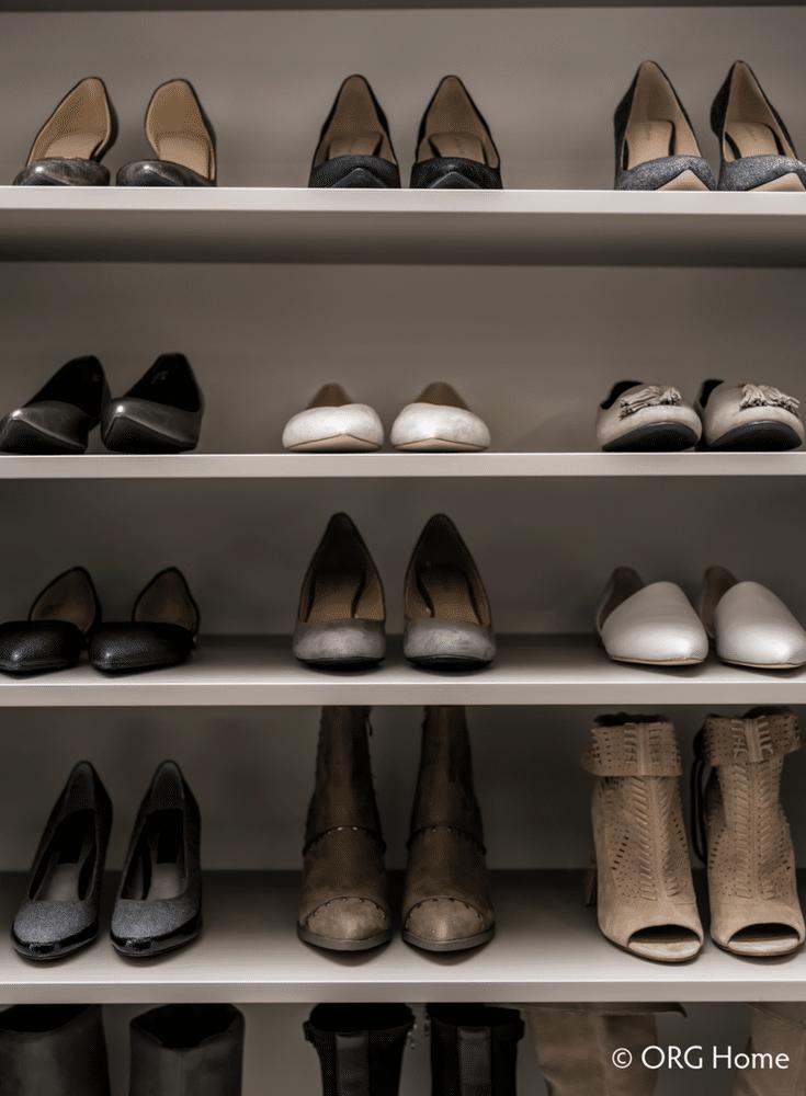 Flat adjustable textured wood laminate shoe shelves in a custom closet in New Albany Ohio   Innovate Home Org Columbus Ohio