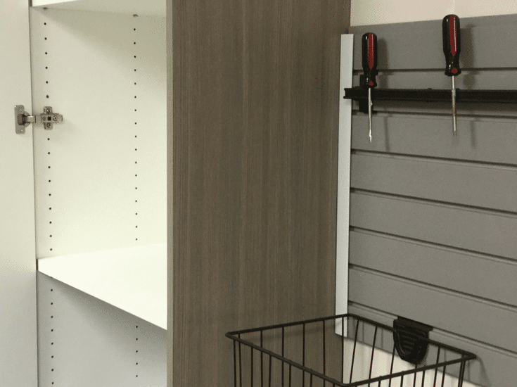 Laminate garage cabinet system with 1 inch thick adjustable shelving in Upper Arlington Ohio - Innovate Home Org