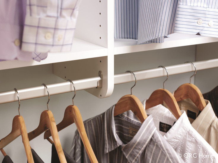 Laminate support sections between closet rods in a custom Dublin Ohio closet | Innovate Home Org Columbus Ohio