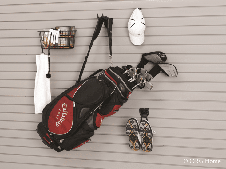 Organized garage slatwall storage systems with hooks for golf clubs  in Dublin Ohio - Innovate Home Org Columbus Ohio