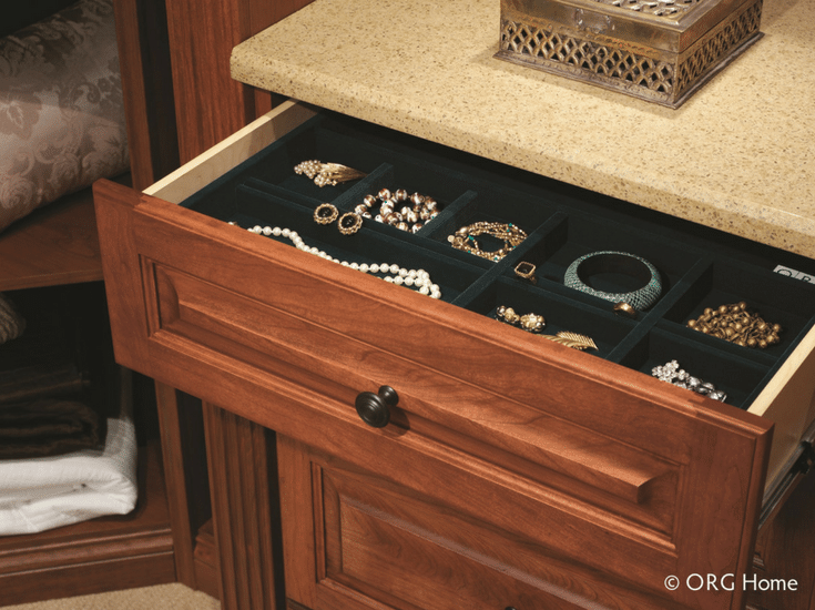 A full extension jewelry drawer box in a Dublin Ohio closet | Innovate Home Org
