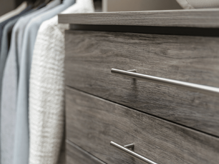 Eight inch high textured laminate custom closet drawers make for a stylish and efficient closet | Innovate Home Org Columbus Ohio