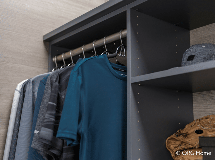 Upper shelving set at 12 inches for an efficient closet design | Innovate Home Org Columbus Ohio