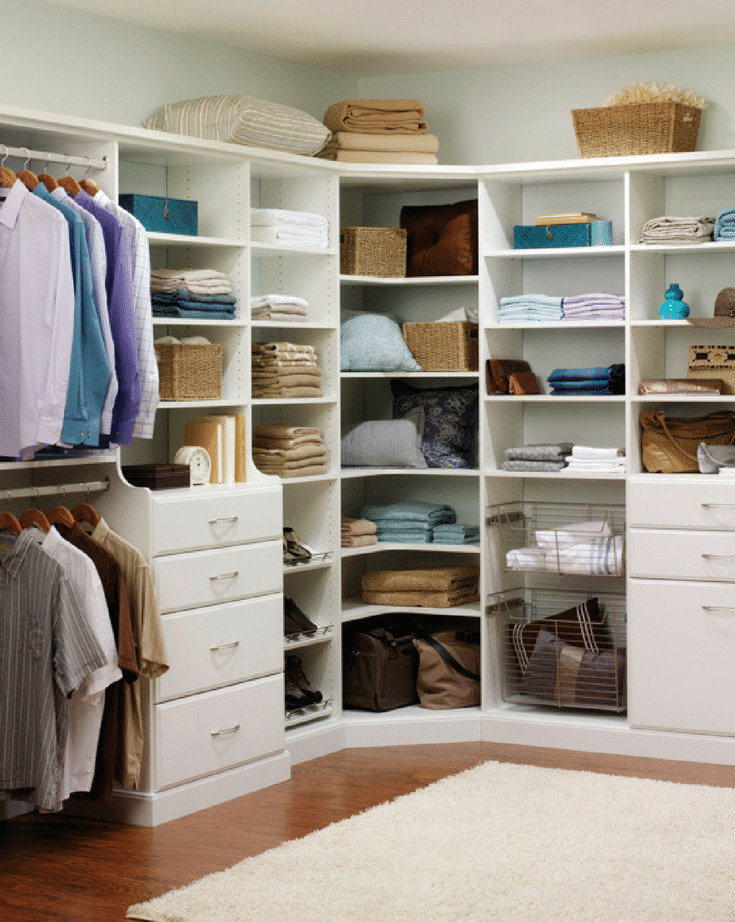 A white laminate Columbus closet with flat shelves for a more price and cost effective design | Innovate Home Org