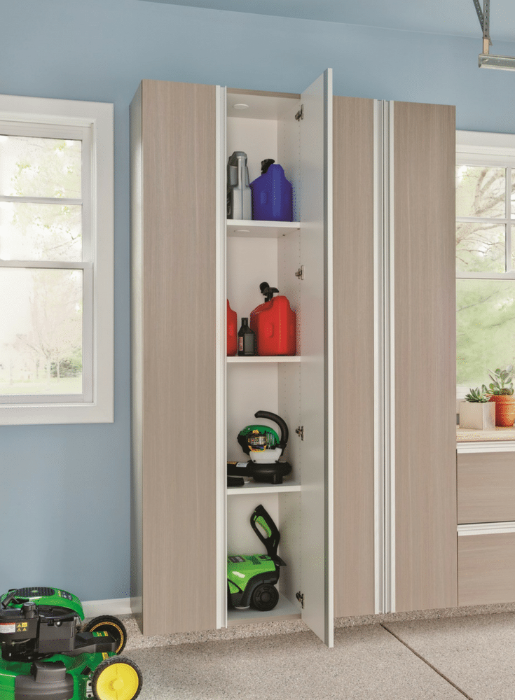 Garage cabinetry with a lock can protect kids against dangerouse chemicals | Innovate Home Org Columbus Ohio