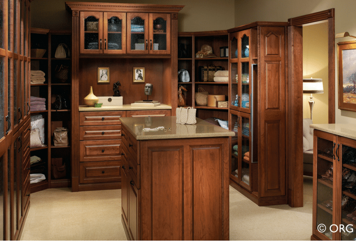 Glass front closet cabinets custom luxury closet | Innovate Home Org Columbus Ohio