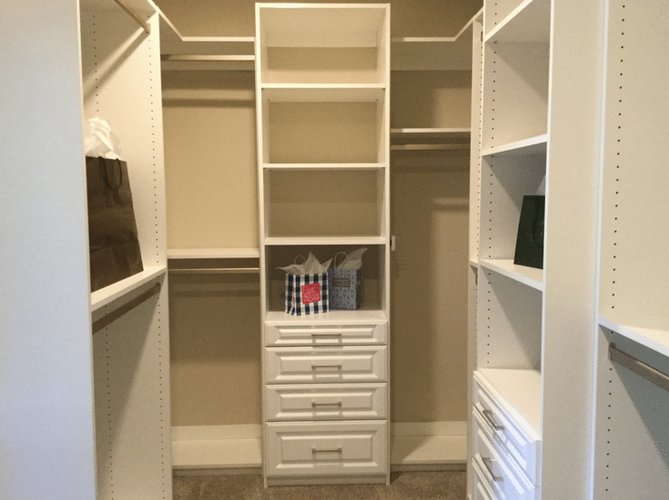 A his and hers luxury custom bedroom closet in the BIA Parade of Homes Maple Craft Custom Builders and Innovate Home Org