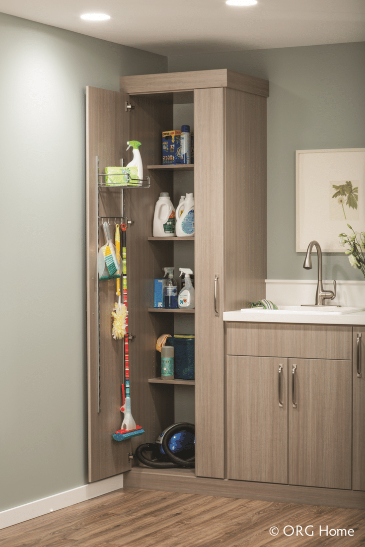 Laundry room storage cabinets for cleaning supplies - Innovate Home Org Columbus Ohio
