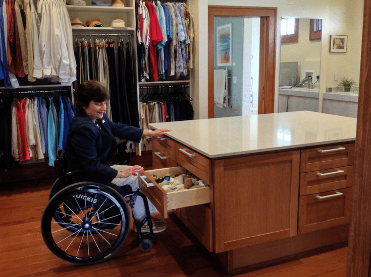 Rosemarie Rossetti roll around universal closet design with open shelving and hanging sections designed for a wheelchair | Innovate Home Org Columbus Ohio