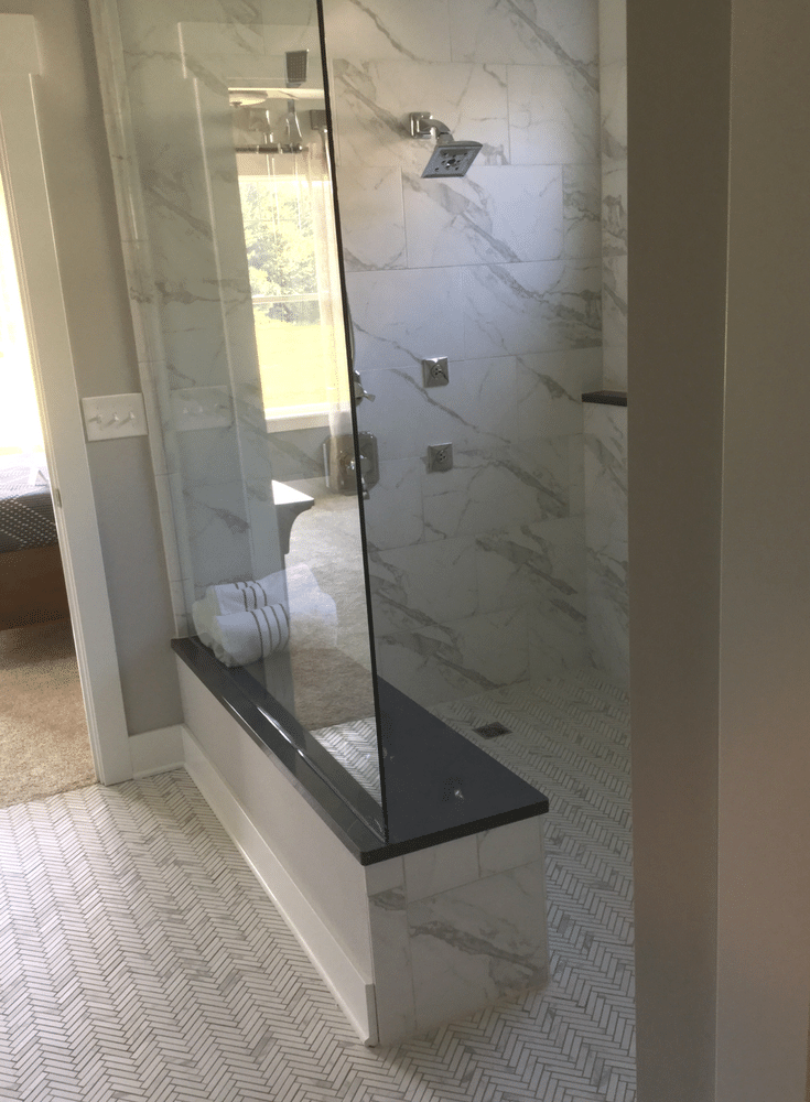 Walk in tile shower in baby boomer empty nester home - Innovate Building Solutions