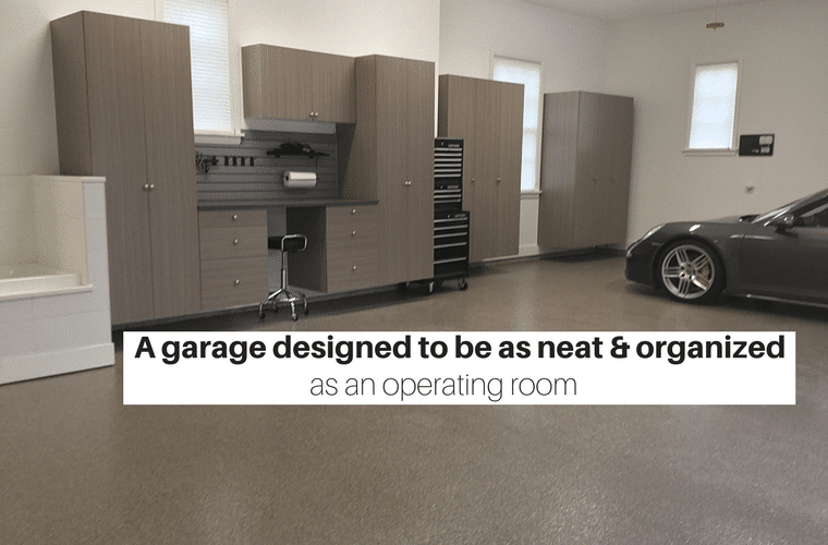 A garage designed to be as neat an an operating room | Innovate Home Org project in New Albany Ohio a suburb of Columbus