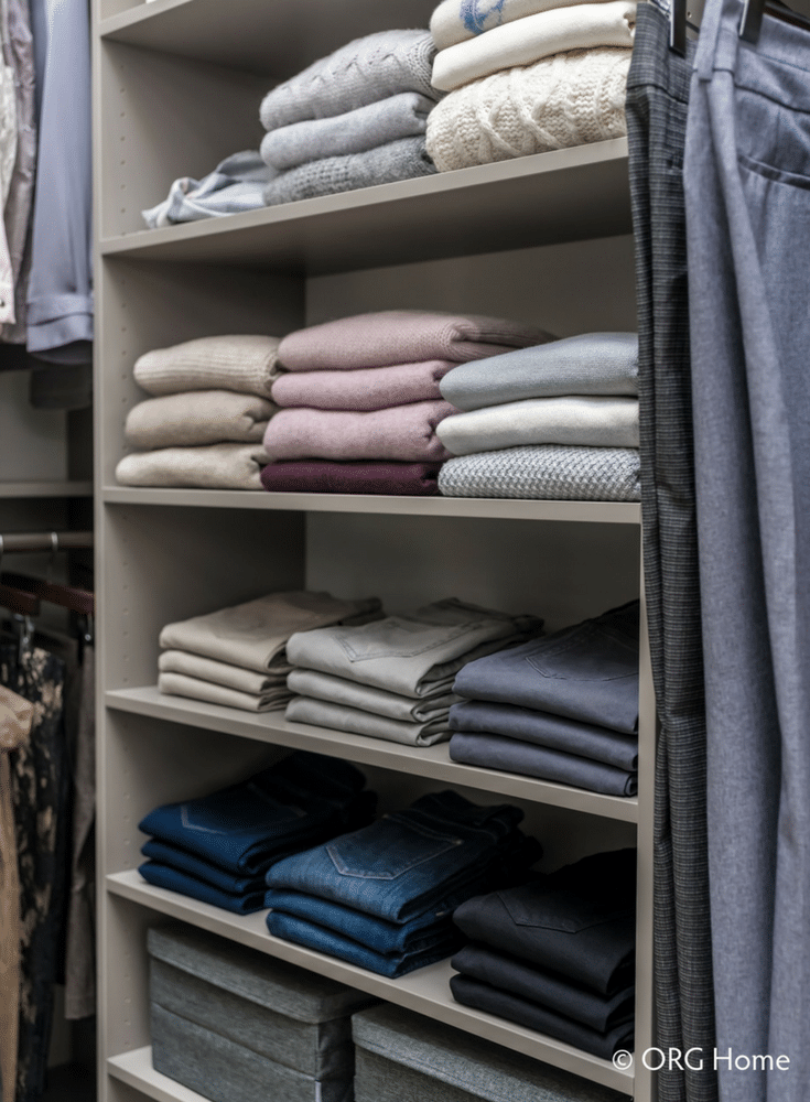 Adjustable laminate shelves in a custom walk in bedroom closet in Columbus Ohio - Innovate Home Org