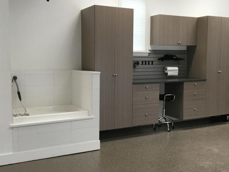 Dog washing station in Columbus Ohio luxury garage | Innovate Home Org Columbus Ohio
