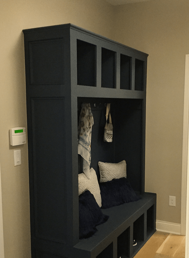 Entryway cabinet with a chalkboard for notes in Columbus Ohio 2017 Building Industry Parade of Homes - Innovate Home Org