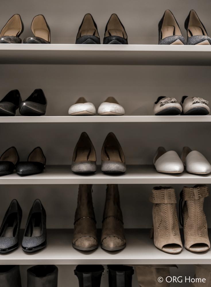 Flat adjustable shoe shelving at the entry of a custom Worthington Ohio closet - Innovate Home Org