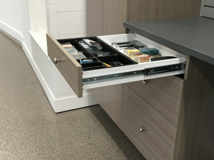Full extension custom garage storage workbench with a drawer tray | Innovate Home Org Columbus Ohio