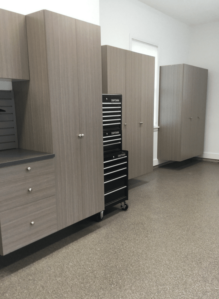 New Albany Ohio home garage cabinetry and garage floor installation | Innovate Home Org Columbus Ohio