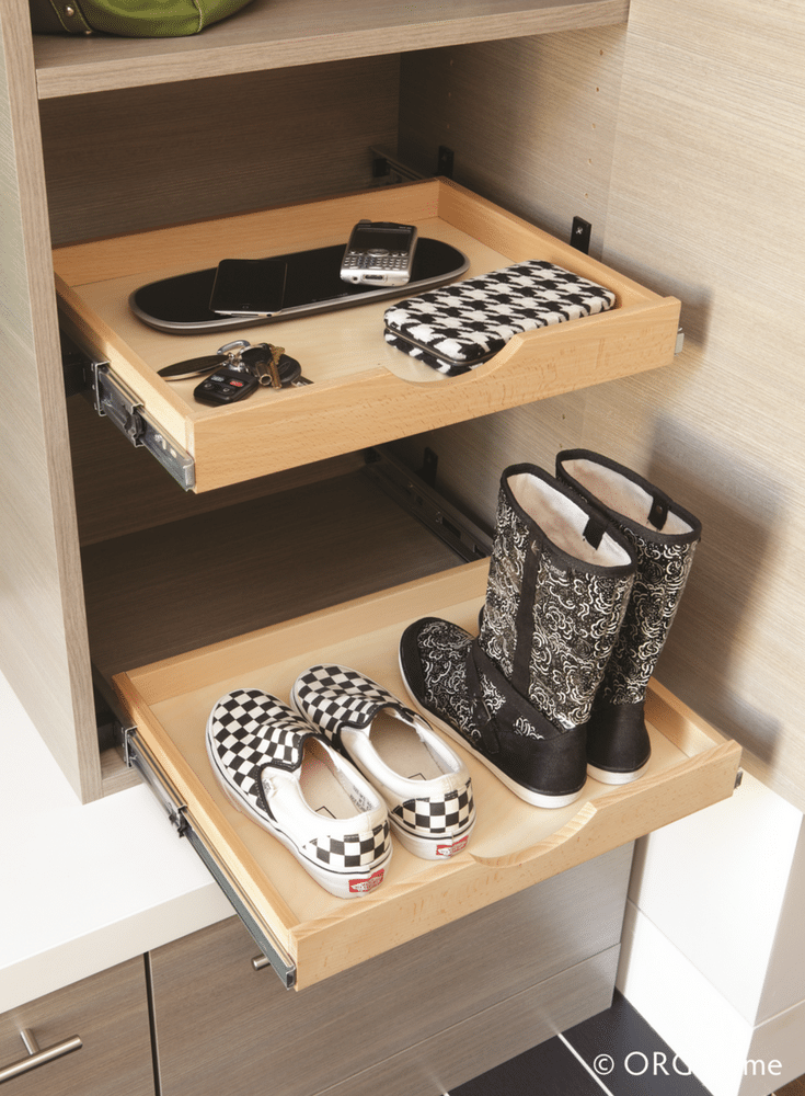 Sliding pull out drawers in a custom mudroom cabinet system | Innovate Home Org Columbus Ohio
