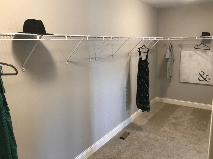 Too much unused storage space above wire closet shelving