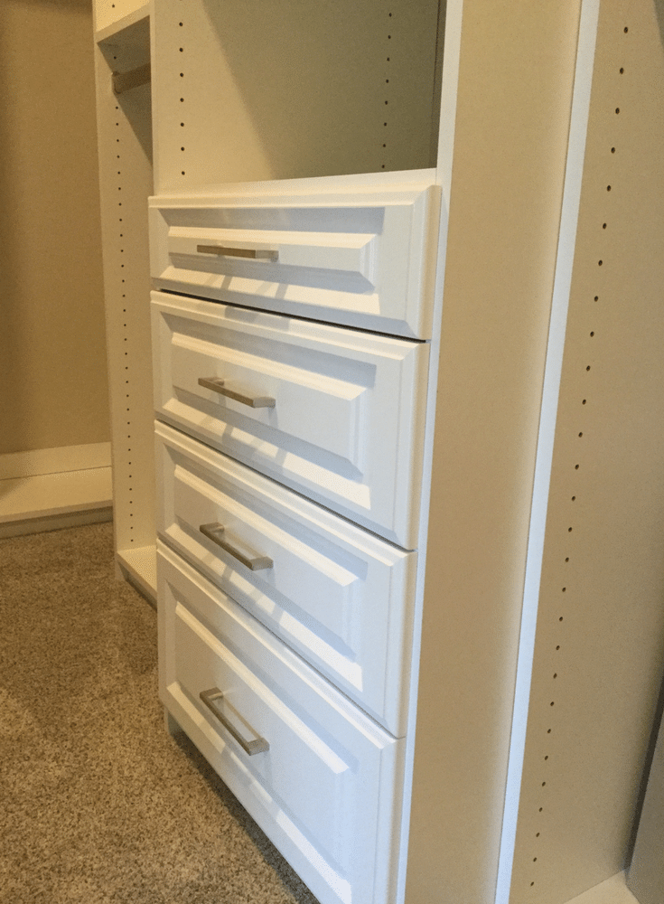 Varying closet drawer heights for flexibility in a Columbus custom closet  in the 2017 BIA Parade of Homes - Innovate Home Org